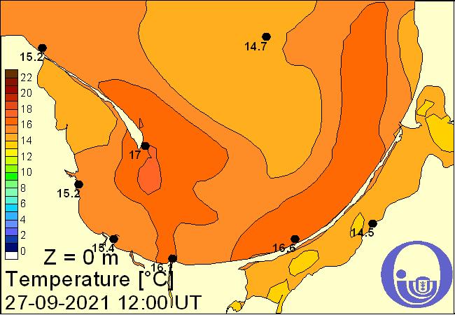 Temperatura wody w morzu w Zatoce Puckiej i Gdańskiej na podstawie Modelu Ekohydrodynamicznego Instytutu Ocanografii Uniwersytetu Gdańskiego